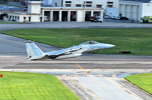 44th Fighter Squadron F-15C Eagle takes off at Kadena Air Base