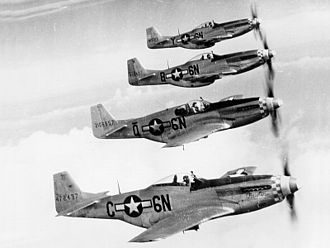 138th Attack Squadron - 505th Fighter Squadron P-51 Mustang formation, 1945