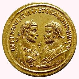 5 Aurei, Diocletian and Maximianus Herculius, Elephantenquadriga, Rome, 287 AD - Bode-Museum - DSC02724