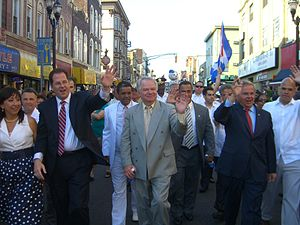 Bob Menendez - Menendez (second from right) marching in the North Hudson Cuban Day Parade with Union City Mayor Brian P. Stack (second from left), June 6, 2010.