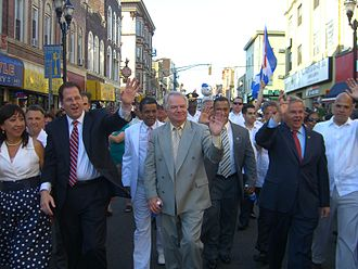 Brian P. Stack - Stack and his staff marching in the North Hudson Cuban Day Parade with New Jersey Senator Bob Menendez (second from right), June 6, 2010.