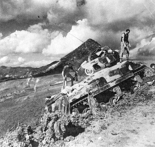 Rhodesian Shermans at Mont Vigese, 1944.