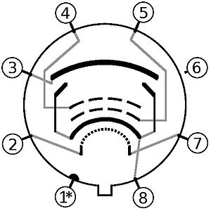 6V6 - Image: 6V6 6 L6 Tube pin out diagram