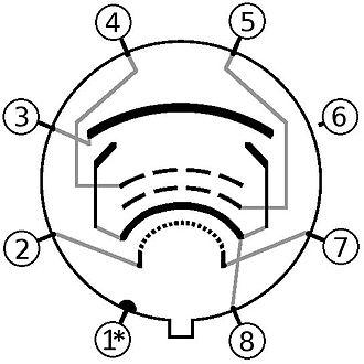 6V6 - Image: 6V6 6 L6 Tube pin out diagram