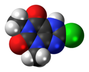 Space-filling model of the 8-chlorotheophylline molecule