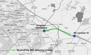 A421 road - The route of the proposed A421 widening scheme, between the M1 Junction 13 and Milton Keynes.