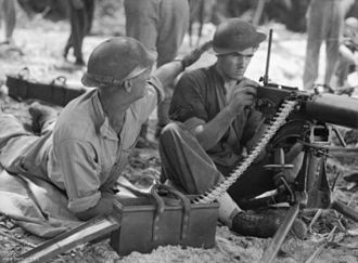 Airfield Defence Guards - Aerodrome Defence Guards manning a Vickers Gun, 1944