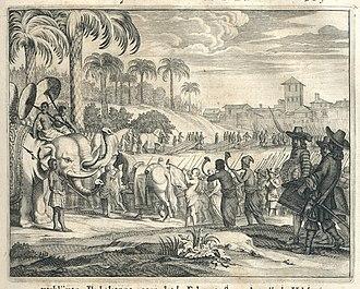 Rajasinha II of Kandy - The arrival of general Hulft at the court of Rajasingha II (by Johannes Janssonius Waasbergen, circa 1672)