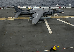 USS America (LHA-6) - An AV-8B Harrier of VMA-311 launches from America during exercises off California in February 2015