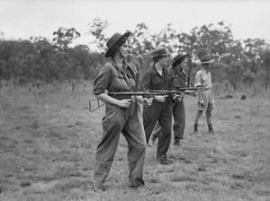 Australian Women's Army Service -  AWAS with Owen guns. Members being instructed in the use of the Owen gun at Belmont, Queensland.