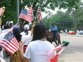 A Day Without Immigrants - Horse-mounted cop, flags.jpg