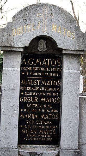 Mirogoj Cemetery - Image: A G Matoš