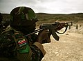 A Gambian soldier fires a hammered pair, or two shots in rapid succession, during combat marksmanship training July 15, 2012, in Thies, Senegal, as part of exercise Western Accord 2012 120715-M-XI134-1812.jpg