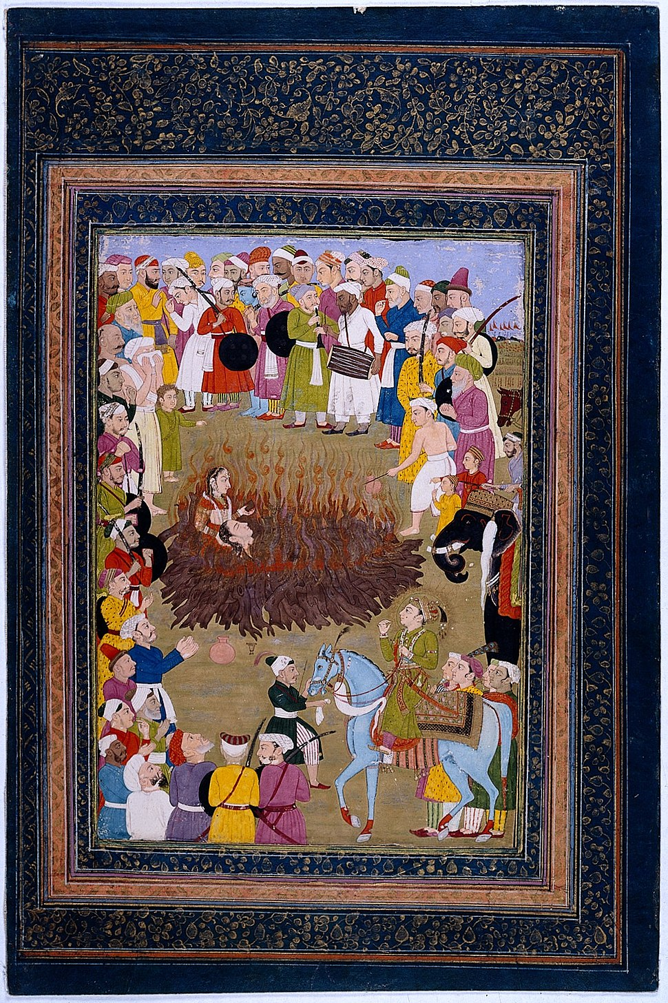 A Hindu princess committing suttee against the wishes of the Wellcome L0022809.jpg