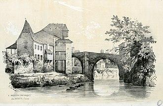 Mauléon-Licharre - Mauléon in 1843 by Eugène de Malbos.