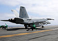 A U.S. Navy F-A-18E Super Hornet aircraft assigned to Strike Fighter Squadron (VFA) 86 launches from the flight deck of the aircraft carrier USS Ronald Reagan (CVN 76) in the Pacific Ocean during flight deck 130504-N-AV746-035.jpg