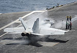 A U.S. Navy F-A-18F Super Hornet aircraft assigned to Strike Fighter Squadron (VFA) 154 prepares to launch from the aircraft carrier USS Nimitz (CVN 68) Aug. 19, 2013, in the U.S. 5th Fleet area 130819-N-AZ866-240.jpg