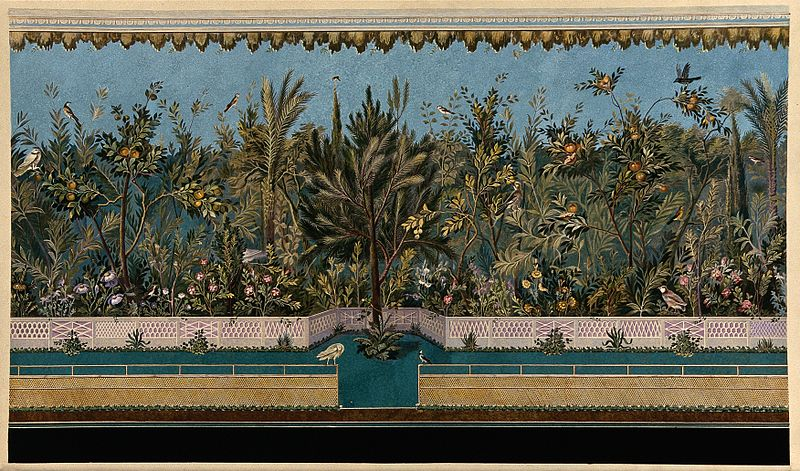 File:A border of trees, palms and herbaceous plants from a Roman Wellcome V0044515.jpg
