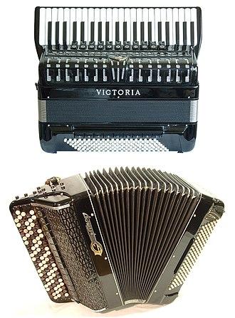Accordion - A piano accordion (top) and a button accordion (bottom)
