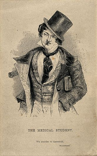 Fop - A foppish medical student smoking a cigarette; denoting a cavalier attitude