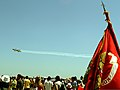 """A formation of aircraft with the Romanian aerial demonstration squadron flies past the crowd at the """"Thunder Over Constanta"""" air show in Constanta, Romania, June 8, 2011 110608-M-OB762-002.jpg"""
