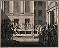 A woman is beheaded on a wooden stage in a courtyard with a Wellcome V0041796.jpg