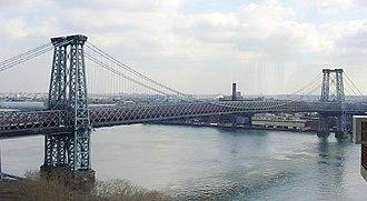 Williamsburg Bridge - Image: Above Williamsburg Bridge crop