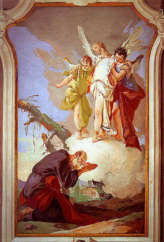Criticism of Christianity - God reveals himself to Abraham in scripture and he is seen here with three angels. By Giovanni Battista Tiepolo.