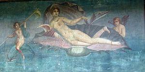 Pintura mural de Pompeya donde se cree que se representa la Venus anadiomena del pintor Apeles.