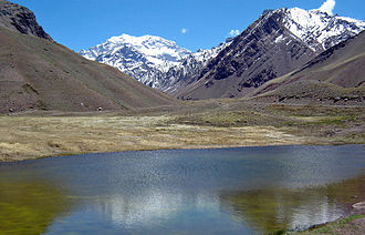 Aconcagua Provincial Park - View of Aconcagua from the entrance of the park