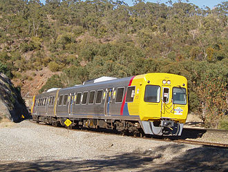 Belair railway line - A 3000 class railcar exiting Sleeps Hill Tunnel.