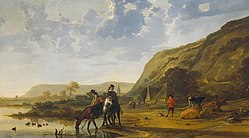 Aelbert Cuyp - Rivierlandschap met ruiters - Google Art Project.jpg