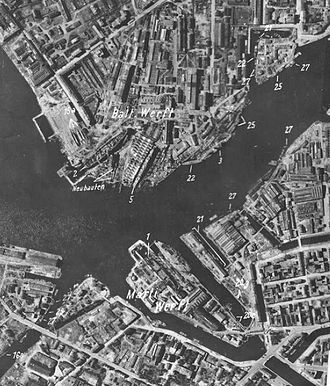 Admiralty Shipyard - Luftwaffe aerial reconnaissance photo of the Ordzhinikidze Yard (Shipyard No. 189) (top) and Marti and Sudomekh Shipyards (bottom), Leningrad, 7 July 1941