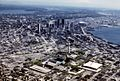 Aerial photograph of Seattle Center, Downtown, and beyond, 1977 (28483378830).jpg