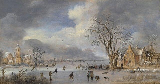 painting of kolf and ice games by Aert van der Neer (c. 1642)