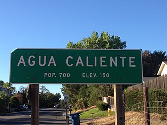 Fetters Hot Springs-Agua Caliente, California - Image: Agua Caliente city sign, facing north