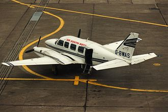Piper PA-31 Navajo - An Air South West PA-31 in service at Dublin Airport in 1994