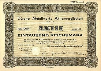 Aktiengesellschaft - Example of an Aktie, with a nominal value of 1000 Reichsmark (RM).
