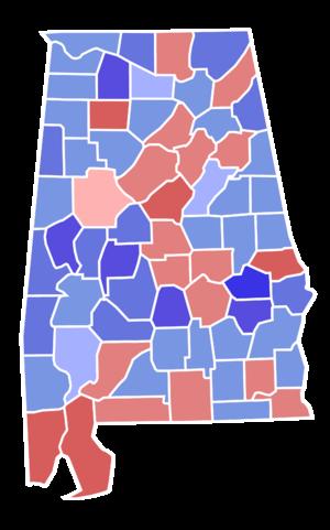 United States Senate election in Alabama, 1980 - Image: Alabama senate election results by county, 1980