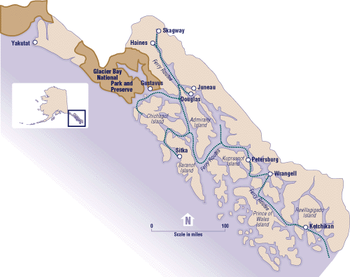 A map of the Alaskan portion of the Inside Passage.