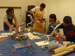 Cartonería - Cartonería workshop at the Museo de Arte Popular, Mexico City making alebrijes