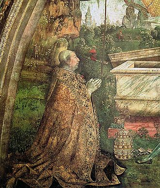 Borgia Apartments - Detail of fresco Resurrection in the Borgia Apartment showing Alexander VI (Borgia) in prayer painted by Pinturicchio