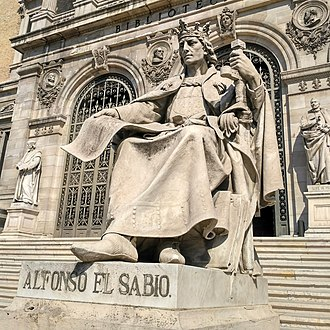 Alfonso X of Castile - Statue of Alfonso X El Sabio, outside the Biblioteca Nacional (National Library) in Madrid, Spain.