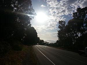 Algona Road - Algona Road, Tasmania, looking south towards Blackmans Bay, early December morning 2014