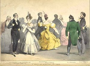 Beau Brummell - A ball at Almack's, supposedly in 1815; the couple on the left are annotated as 'Beau Brummell in deep conversation with the Duchess of Rutland'.