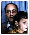 Amarjit Chandan. Self Portrait with son son Navroz. London. 1988.jpg