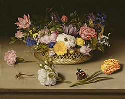 Flowers are common subjects of still lifes, such as this one by Ambrosius Bosschaert the Elder