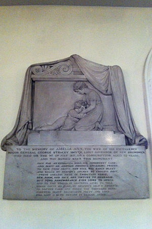 Francis Leggatt Chantrey - Monument to Amelia Ann Smyth, d. 1817 (wife of acting Lt. Gov. of Nova Scotia George Stracey Smyth), St. Paul's Church, Nova Scotia