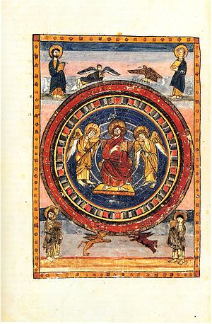 Codex Amiatinus - Maiestas Domini (Christ in Majesty) with the Four Evangelists and their symbols, at the start of the New Testament (fol. 796v)
