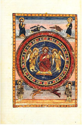 Monkwearmouth–Jarrow Abbey - An illumination of Christ in Majesty, surrounded by the Four Evangelists, at the start of the New Testament in the Codex Amiatinus written at Monkwearmouth-Jarrow